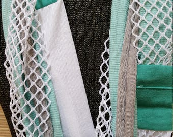 """Seafoam teal green, grey, and white 77"""" infinity all daywear scarf"""
