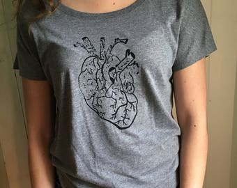 Distressed Heart Ladies Short Sleeve T-Shirt Hand Silkscreened RADICAL APPAREL