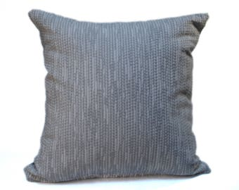 Gray Throw Pillow with Designer Fabric, Square Throw Pillow 18x18