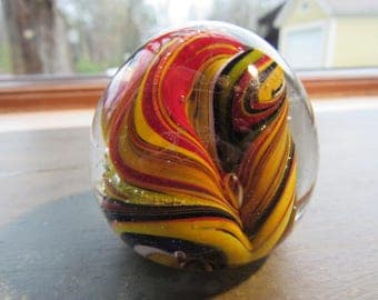 Vintage Glass Paperweight, Red & Yellow