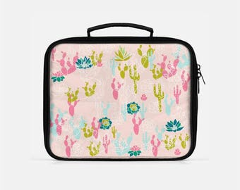 Cactus Lunch Box, Pink Lunch Box, Cute Lunch Box, Lunch Box for Women, Reusable Lunch Box, Cactus Print, Cactus and Succulents