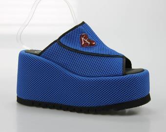 90's vintage Luichiny plateau Sandals platform wedge heel size. EU: 38 UK 5 US 7 1/2