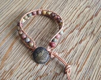 Leather wrap, beaded bracelet, leather wrap bracelet, Round Chinese Rainbow Jasper Beads