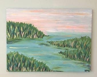 18x24 Coastal Landscape Acrylic Painting