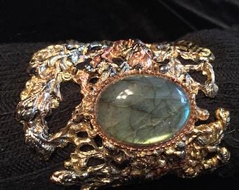 Brass, copper and fine silver cuff bracelet with labradorite