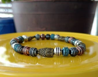 Owl bead bracelet, gold and silver, turquoise, owl charms, beaded bracelet