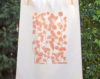 Gum Leaf 75% Linen Handprinted Original Artwork Tea Towel