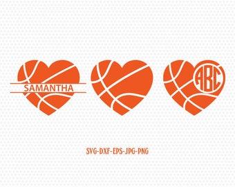 Basketball heart monogram frames,basketball svg, basketball love, basketball monogram,CriCut Files frame svg jpg png dxf Silhouette cameo