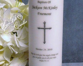 Baptism Ceremony - Baby Baptism Gift Candle - Cross Christening Candle - Baby Girl & Baby Boy Baptism -Personalized Candle