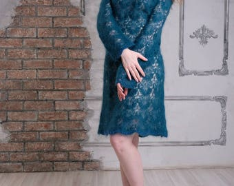 Turquoise blue sweater dress/ Hand-knitted tunic/ Mohair Dress
