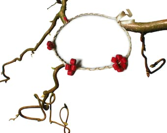 Red and white and beige braided leather headband