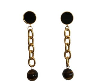 Tiger's Eye Shoulder Duster Earrings