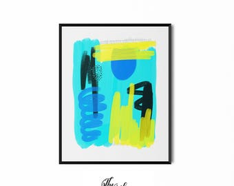 Abstract Art Print, Wall Art, Turquoise, Brush Stroke Art, Modern Art Print, Contemporary Design Digital Download