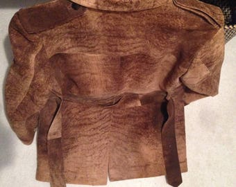 Stanley Blacker vintage safari brown suede leather Jacket size 38""