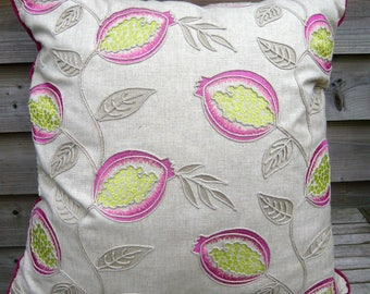 """Large Luxury 26"""" x 26"""" linen mix cushion with embroidered & applied decoration natural fuschia and magenta"""