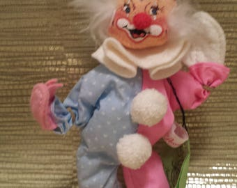 "Annalee Doll - 10"" Pink and Blue Clown 1986"