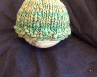 Newborn hand knit hat