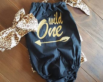 "Adorable ""Wild One"" baby girl 2 piece romper/sunsuit with leopard trim and matching leopard print headband is perfect for 1st birthday!"