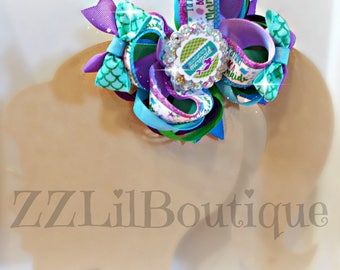 "Blue/Green/Purple Mermaid Stacked 5"" Bow"