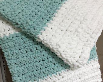 Crocheted Striped Baby Blanket / Toddler Blanket / Super Bulky Chenille Chunky Stitch / White and Blue / Super Soft Blanket / Shower Gift
