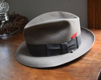 Vintage Resistol Grey Fedora with Red Feather