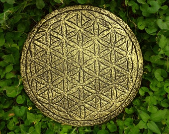 Flower of Life Wall Art Stone Sculpture Metaphysical Sacred Geometry Symbol