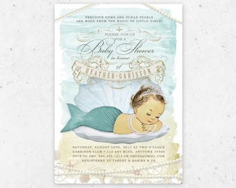 Mermaid Baby Shower Invitation - Printable Digital File - Ocean, Under the Sea, Aqua, Green, Seafoam, Sea Shell, Retro, Vintage Baby Shower