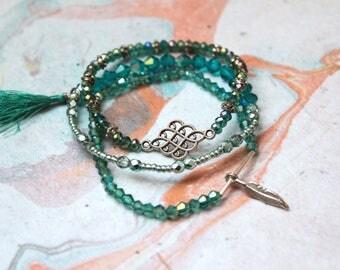 Boho Bracelet, Bohemian Bracelet, Boho Jewelry, Gypsy Bracelet, Aqua and Silver Crystal Beaded Bracelets - Jade