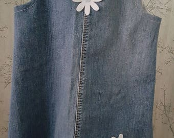Upcycled denim pinnyfore dress