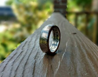 Half Dollar Coin Ring - Shiny or Patina Finish