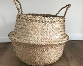 Medium Seagrass Basket, Belly Basket, Laundry Baskets, Storage Baskets