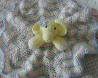 "Crochete ""Stella"" Elephant Baby Lovey"