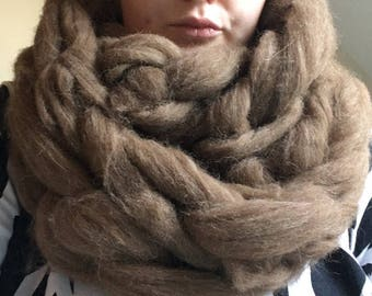 Handmade woollen cowl. Arm knitted. 100% Shetland or merino wool. Infinity scarf. Gift for her. Unique, natural, affordable. Birthday gift.