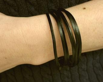 Multistrap Black Leather Boho Bracelet
