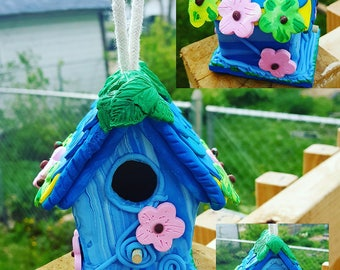 Whimsical Birdhouse, Made to Order, Polymer Clay Birdhouse, Small Birdhouse for Sale