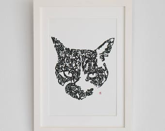 Handwriting Japanese Calligraphy Art Piece 'a cat'