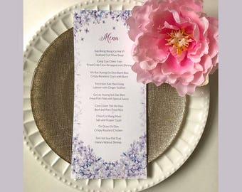 Wedding Menu Template // Purple Lilac // Printable Wedding Menu // Elegant Wedding Menu // Vietnamese Wedding // DIY Wedding // Event Menu