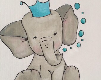 Kennedy the Elephant- Custom Nursery Art, Baby Nursery Wall Decor, Baby Nursery Art, Elephant Nursery, Baby Elephant Decor, Grey Nursery