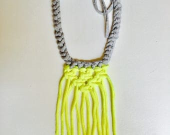 Grey and highlighter yellow handmade tassels necklace from cotton jersey yarn