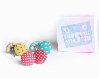Stud earrings, earrings uk, free shipping, fabric, flower girl gift, earrings silver, girly gifts, limited edition, polka dot