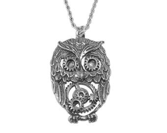 Steampunk Owl and Gears Pewter Pendant Necklace with Chain