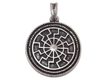 Pewter Black Sun Viking Pendant (stylized victory rune)