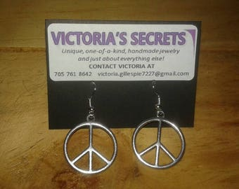 Peace Sign Earrings made with Surgical Steel Earring Hooks -Love -Happy
