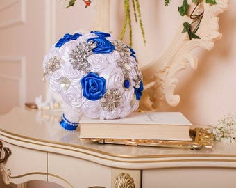 Wedding bouquet, brooch-bouquet, bridal bouquet, satin ribbons, bouquet from fabric, wedding accessories, boutonniere