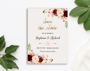 Save the Date Printable Floral Digital Wedding Marsala Burgundy Watercolor Gold letters Bohemian Save the Date Invite WS-013