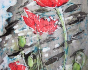 Poppies -  A quality signed print from an original batik 30 cm x 40 cm