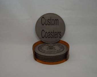 Leatherette Coasters, Personalized!