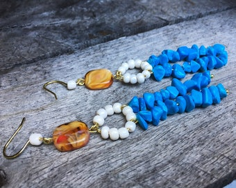 Turquoise & Glass Earrings 201750201