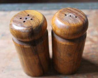 Salt and pepper shakers vintage acacia wood