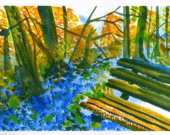 Fall Park Bench (original watercolor print)